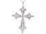 Pre-Owned White Cubic Zirconia Rhodium Over Sterling Silver Cross Pendant With Chain 2.20ctw