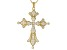 Pre-Owned White Cubic Zirconia 18K Yellow Gold Over Sterling Silver Cross Pendant With Chain 2.20ctw