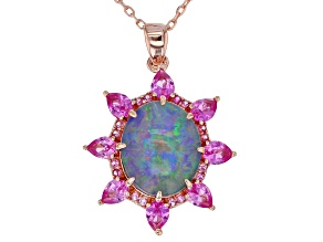 Pre-Owned Multi-Color Australian Opal Triplet 18k Rose Gold Over Silver Pendant with Chain 1.30ctw