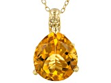 Pre-Owned Yellow citrine 18k yellow gold pendant with chain 5.80ctw