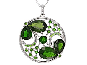 Pre-Owned Green Chrome Diopside Sterling Silver Pendant With Chain 9.57ctw
