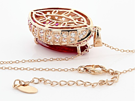 Pre-Owned Red Lab Created Ruby 18k Rose Gold Over Sterling Silver Pendant with Chain 16.92ctw