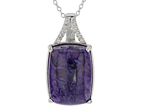 Pre-Owned Purple charoite rhodium over silver pendant with chain .17ctw