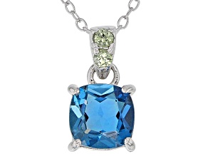 Pre-Owned London blue topaz rhodium over silver pendant with chain 1.50ctw