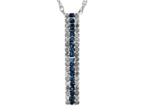 Pre-Owned Blue And White Diamond Rhodium Over Sterling Silver Pendant .44ctw