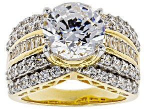 Pre-Owned Swarovski ® White Zirconia 18K Yellow Gold Over Sterling Silver Center Design Ring 9.49ctw