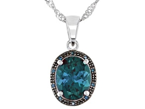 Pre-Owned Blue Lab Created Alexandrite Rhodium Over Sterling Silver Pendant With Chain 2.65ctw