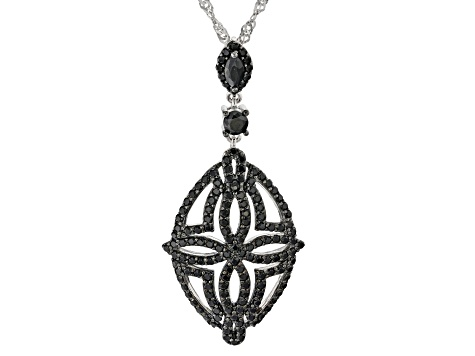 Pre-Owned Black spinel rhodium over silver pendant with chain 1.79ctw