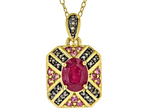 Pre-Owned Red Mahaleo(R) Ruby 18k Gold Over Silver Pendant With Chain 1.79ctw