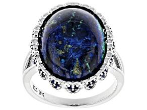Pre-Owned Blue azurmalachite rhodium over silver ring .82ctw