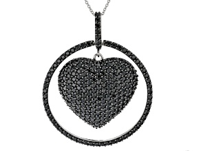 Pre-Owned Black spinel rhodium over silver pendant with chain 9.46ctw
