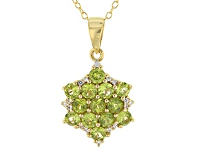 Pre-Owned Green vesuvianite 18k yellow gold over sterling silver pendant with chain 1.54ctw