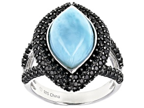 Pre-Owned Blue Larimar Rhodium Over Silver Ring 1.30ctw