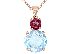 Pre-Owned Sky Blue Topaz 18k gold over silver pendant with chain 4.54ctw
