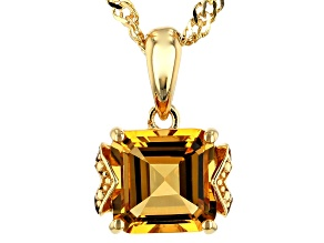 Pre-Owned Yellow golden citrine 18k gold over silver pendant with chain 1.42ctw