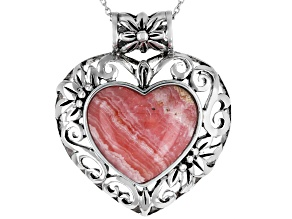 Pre-Owned Pink rhodochrosite silver pendant with chain