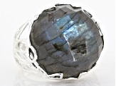 Pre-Owned Labradorite Sterling Silver Solitaire Ring 22ctw