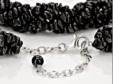 Pre-Owned Black Spinel Rhodium Over Sterling Silver Necklace