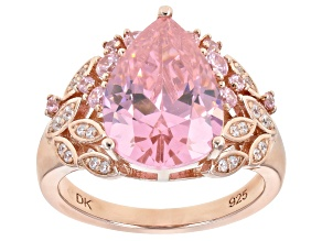 Pre-Owned Pink and White Cubic Zirconia Eterno 18k Rose Gold Over Sterling Silver Ring 9.64ctw