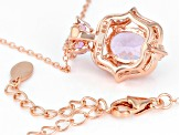 Pre-Owned Pink Kunzite 18k Rose Gold Over Sterling Silver Pendant With Chain 3.16ctw