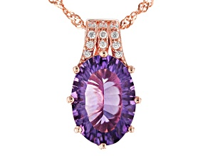 Pre-Owned Purple amethyst 18k rose gold over silver pendant with chain 4.20ctw