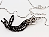 Pre-Owned Black spinel rhodium over silver enhancer with chain 7.75ctw