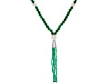 Pre-Owned Green Onyx Sterling Silver Tassel Necklace