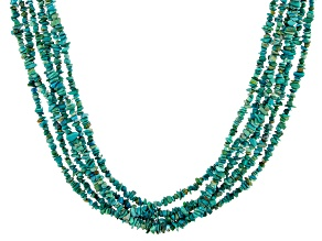 Pre-Owned Turquoise 6-Strand Sterling Silver Necklace