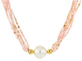 Pre-Owned 12-12.5mm White Freshwater Pearl and Pink Opal Multi-Strand Twisted 18 inch Necklace