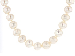 Pre-Owned White Cultured Freshwater Pearl Rhodium Over Silver Strand Necklace 20 inch