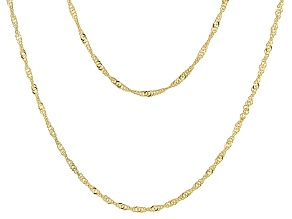 Pre-Owned 18k Yellow Gold Over Sterling Silver Singapore Link Chain Necklace Set Of Two