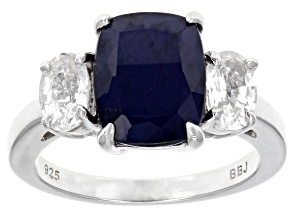 Pre-Owned Blue Sapphire Rhodium Over Silver Ring 4.33ctw