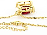 Pre-Owned Red lab created ruby 18k gold over silver pendant with chain 6.03ctw