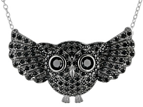 Pre-Owned Black Spinel Rhodium Over Silver Owl Necklace 2.03ctw