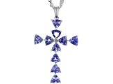 Pre-Owned Blue tanzanite rhodium over silver pendant with chain 2.05ctw