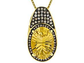 Pre-Owned Yellow citrine 18k yellow gold over silver pendant with chain 5.01ctw