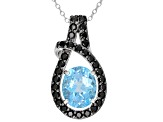 Pre-Owned Swiss Blue Topaz Rhodium Over Silver Pendant With Chain 3.85