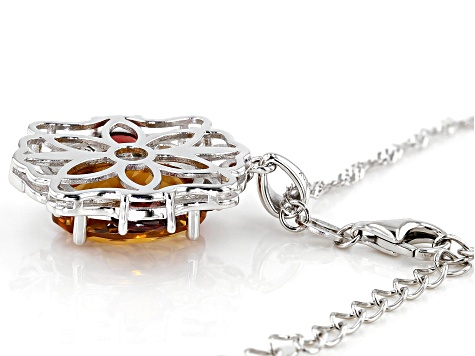 Pre-Owned Orange Madeira citrine rhodium over silver pendant with chain 6.80ctw