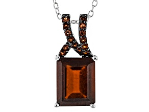 Pre-Owned Red Hessonite Sterling Silver Pendant With Chain 4.23ctw