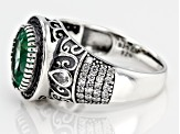 Pre-Owned Green and White Cubic Zirconia Rhodium Over Sterling Silver Center Design Ring 5.00ctw