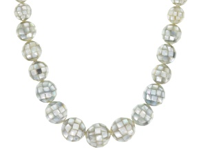 Pre-Owned Multicolor Mother Of Pearl Bead Silver Necklace