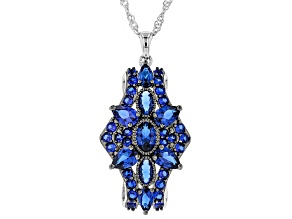 Pre-Owned Blue lab created spinel rhodium over silver pendant with chain 2.88ctw