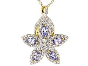 Pre-Owned Blue Tanzanite 18k Gold Over Silver Pendant With Chain 1.30ctw
