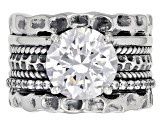 Pre-Owned White Cubic Zirconia Rhodium Over Sterling Silver Center Design Ring 6.47ctw