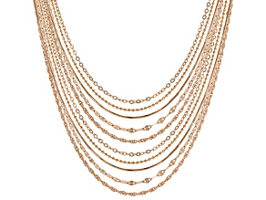 Pre-Owned 18k Rose Gold Over Sterling Silver Diamond Cut Chain Set 18 And 22 inch