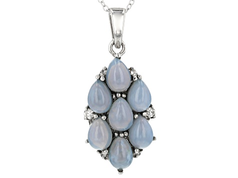 Pre-Owned Blue Opal Sterling Silver Pendant With Chain .13ctw