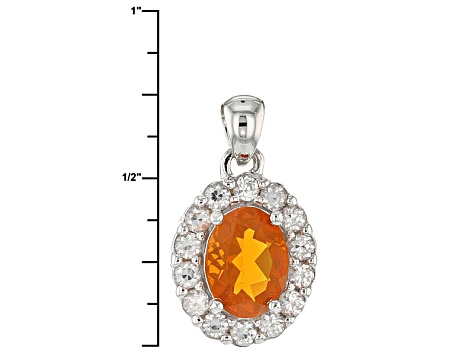 Pre-Owned Orange Mexican Fire Opal Sterling Silver Pendant With Chain 1.38ctw