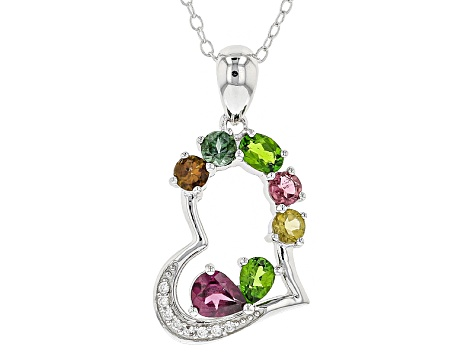 Pre-Owned Multicolor Gemstone Silver Pendant With Chain 1.05ctw