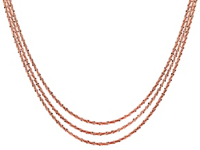 Pre-Owned 24k Rose Gold Over Silver Criss Cross Link Chain Set Of Three 18, 20, 22 inch