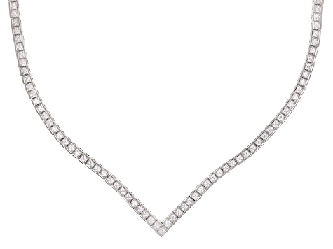 Pre-Owned white cubic zirconia rhodium over sterling silver necklace 18.33ctw